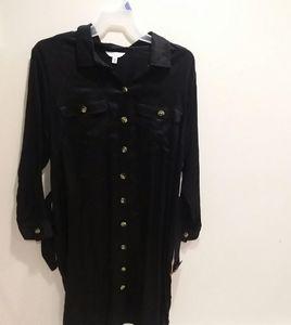 XXL Black Button Down Collared Shirt Dress